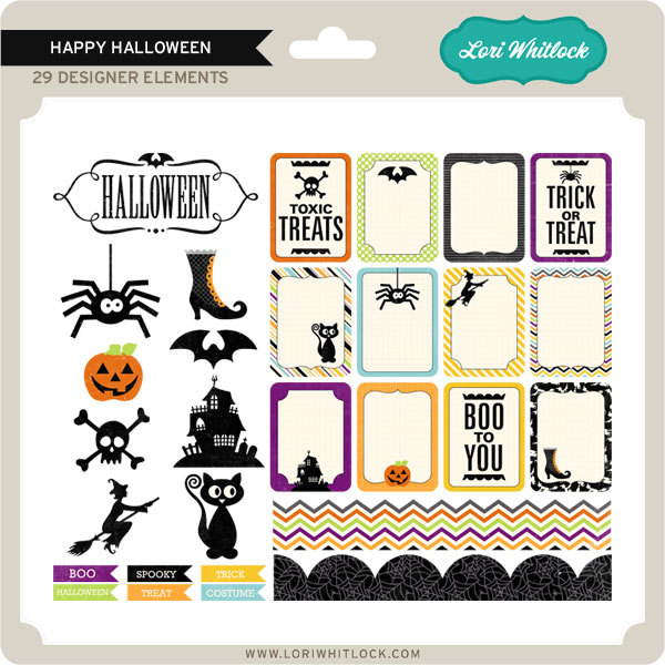 Happy Halloween digital elements kit by Lori Whitlock available at www.snapclicksupply.com #digitalscrapbooking #halloween