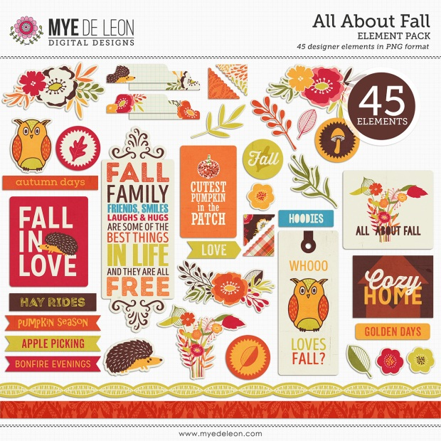 Mye De Leon All About Fall Element Pack available at www.snapclicksupply.com #digitalscrapbooking #fall