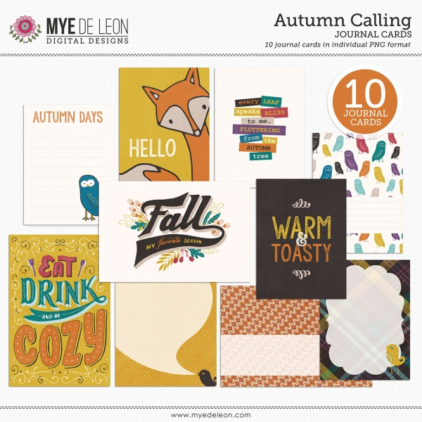 Mye De Leon Autumn Calling Journal Cards available at www.snapclicksupply.com #fall #snapclicksupply