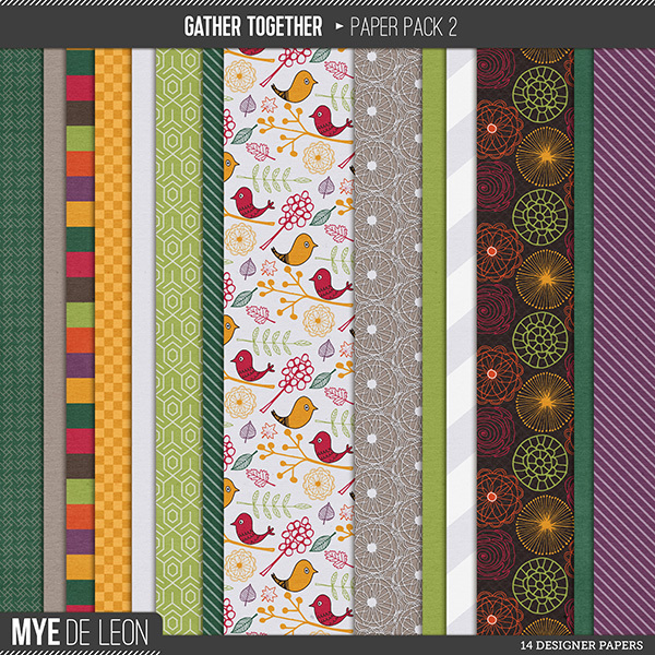 Mye De Leon Gather Together Paper Pack 2 available at www.snapclicksupply.com #digitalscrapbooking #thanksgiving