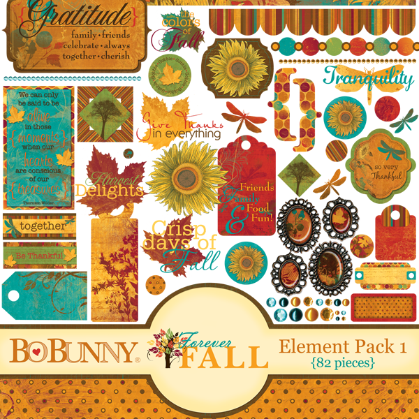 Bo Bunny Forever Fall Element Pack available at www.snapclicksupply.com #digitalscrapbooking #fall