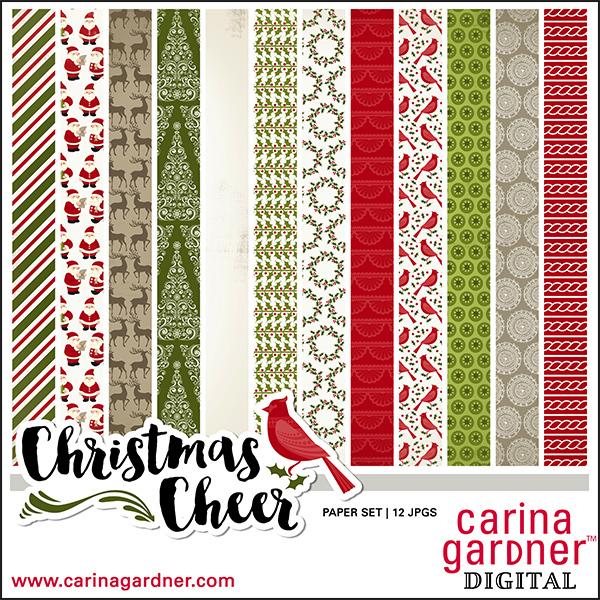 Carina Gardner Christmas Cheer Paper Pack available at www.snapclicksupply.com #digitalsrapbooking #christmas