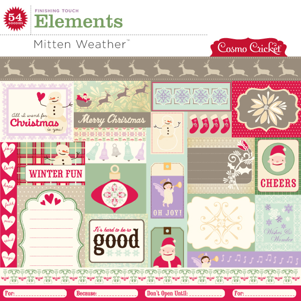 Cosmo Cricket Mitten Weather Elements available at www.snapclicksupply.com #digitalscrapbooking #christmas