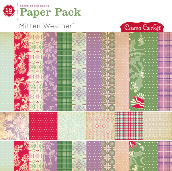 Cosmo Cricket Mitten Weather Paper Pack available at www.snapclicksupply.com #digitalscrapbooking #christmas