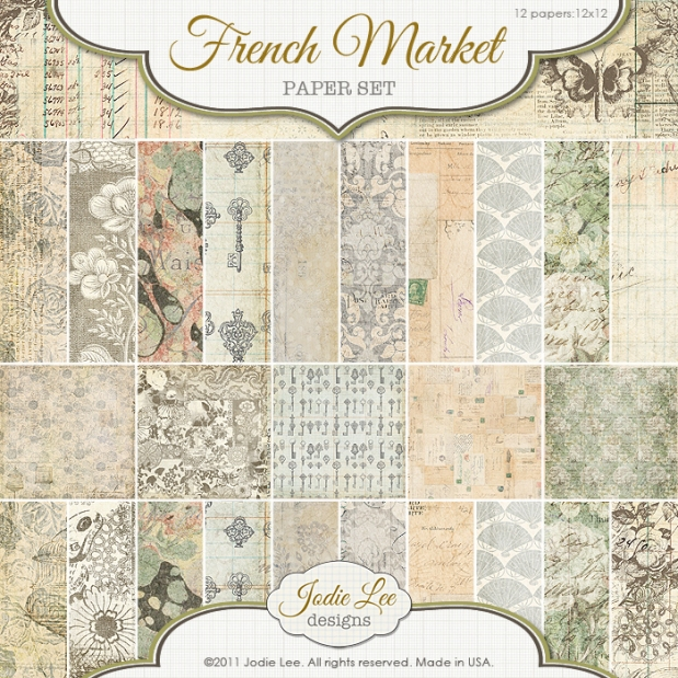 Jodie Lee French Market Paper Set available at www.snapclicksupply.com #digitalscrapbooking #snapclicksupply