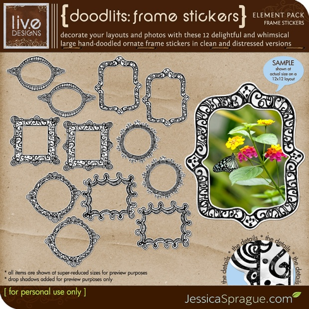 Liv Edesigns Doodlits Frames Stickers