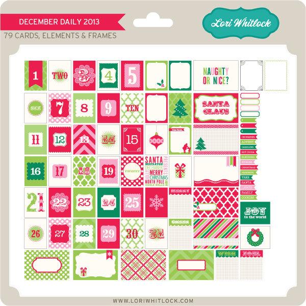 Lori Whitlock December Daily 2013 digital kit available at www.snapclicksupply.com #digitalscrapbooking #decemberdaily #printables
