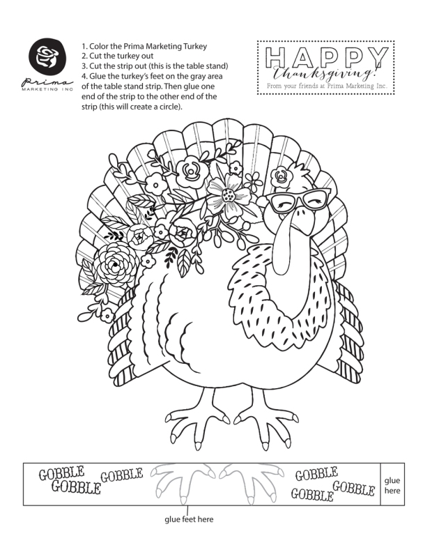 Prima Marketing Free Printable Turkey Craft available at www.snapclicksupply.com #digitalscrapbooking #freeprintable #thanksgivingcraft
