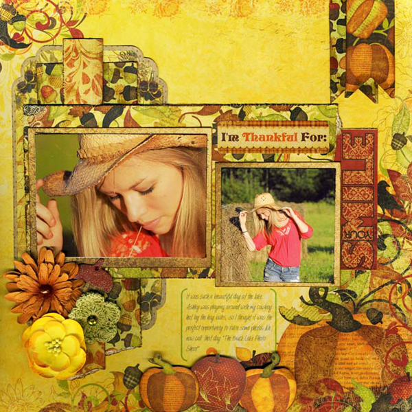 Thankful layout by Lynn Shokoples featuring Bo Bunny's Apple Cider digital collection available at www.snapclicksupply.com #digitalscrapbooking #fall #thanksgiving