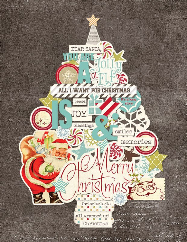 Printable Christmas Tree Collage by Tammy Circeo featuring the Merry Little Christmas kit by Fancy Pants Design available at www.snapclicksupply.com #digitalscrapbooking #freeprintable #christmas