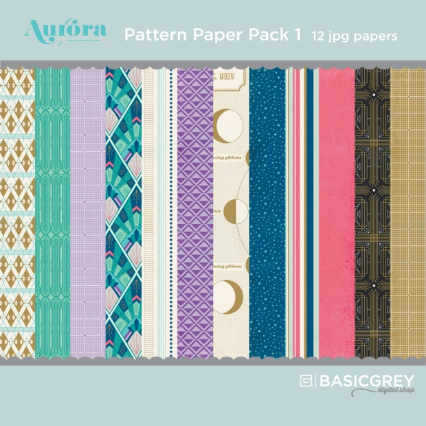 Basic Grey Aurora Paper Pack available at www.snapclicksupply.com #digitalscrapbooking #snapclicksupply