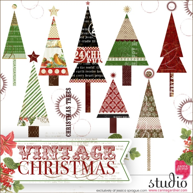Carina Gardner Vintage Christmas Trees available at www.snapclicksupply.com #christmas #digitalscrapbooking