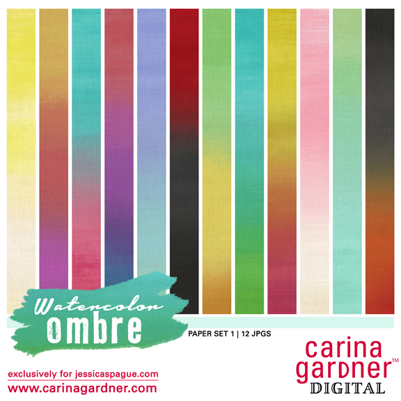 Carina Gardner Watercolor Ombre Paper Pack available at www.snapclicksupply.com #digitalscrapbooking #snapclicksupply