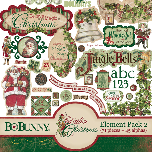Father Christmas Element Pack by Bo Bunny available at www.snapclicksupply.com #digitalscrapbooking #christmas