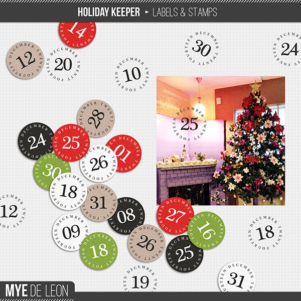 Mye De Leon Holiday Keeper Labels and Stamps available at www.snapclicksupply.com #digitalscrapbooking #christmas