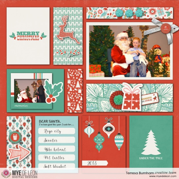 Mye De Leon Memories of Christmas digital scrapbook page by designer Teresa Burnham