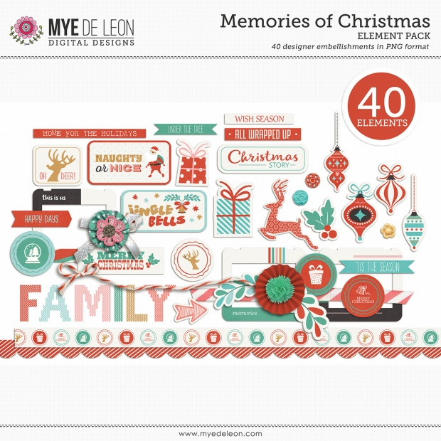 Mye De Leon Memories of Christmas Element Pack available at www.snapclicksupply.com #decemberdaily #digitalscrapbooking