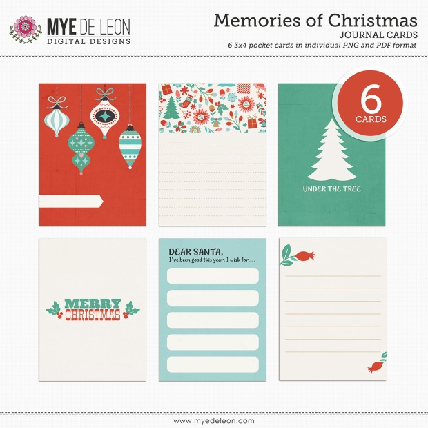 Mye De Leon Memories of Christmas Journal Cards available at www.snapclicksupply.com #decemberdaily #digitalscrapbooking