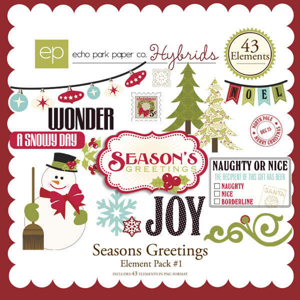 Seasons Greeting Element Pack by Echo Park available at www.snapclicksupply.com #digitalscrapbooking #christmas