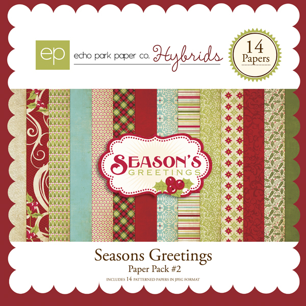 Seasons Greetings Paper Pack by Echo Park available at www.snapclicksupply.com #digitalscrapbooking #christmas