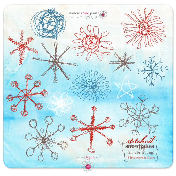 Stitched Snowflakes by Nancie Rowe Janitz