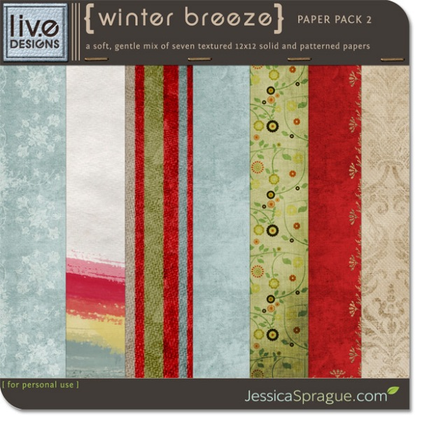 Winter Breeze Paper Pack by Liv.eDesigns available at www.snapclicksupply.com #digitalscrapbooking #snapclicksupply