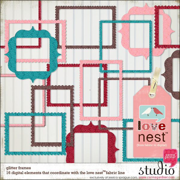 Carina Gardner Love Nest Glitter Frames available at www.snapclicksupply.com #valentinesday #digitalscrapbooking