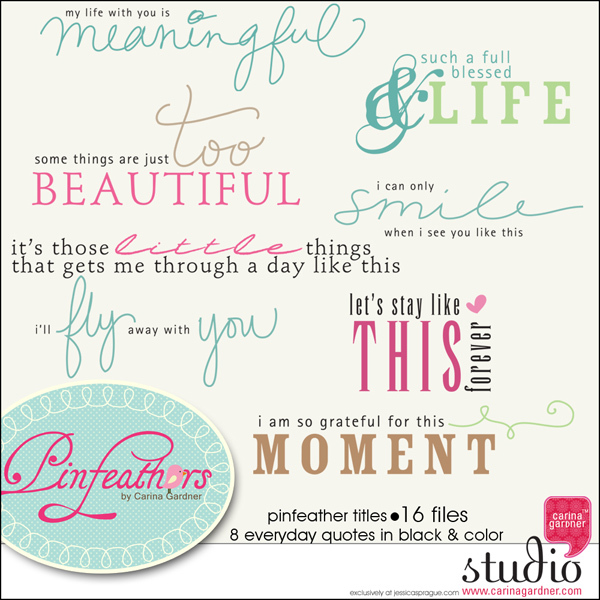 Carina Gardner Pinfeathers Titles available at www.snapclicksupply.com #digitalscrapbooking #quotes