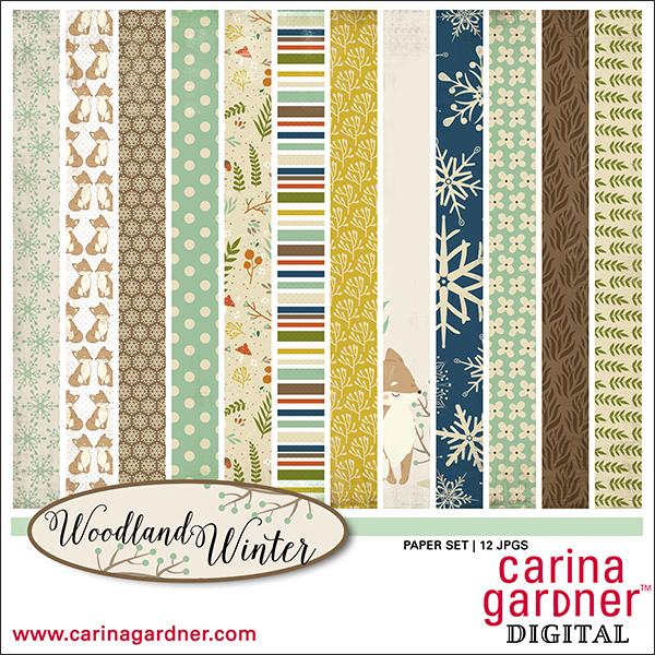 Carina Gardner Woodland Winter Paper Pack available at www.snapclicksupply.com #digitalscrapbooking