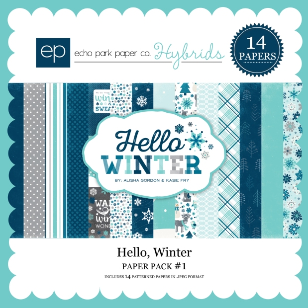 Echo Park Hello Winter Paper Pack available at www.snapclicksupply.com #winter #digitalscrapbooking