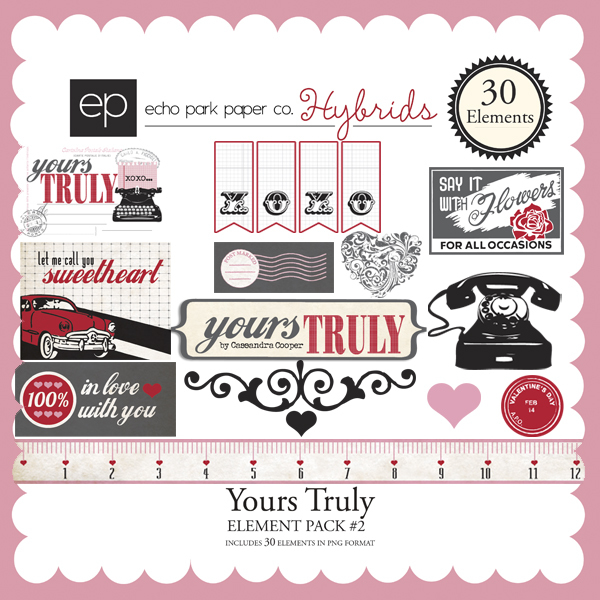 Echo Park Yours Truly Element Pack 2 available at www.snapclicksupply.com #digitalscrapbooking #valentinesday