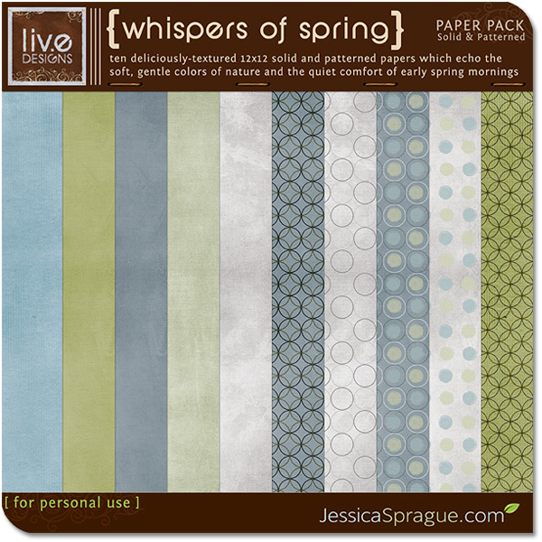 Liv.eDesigns Whispers of Spring Paper Pack available at www.snapclicksupply.com #spring #digitalscrapbooking