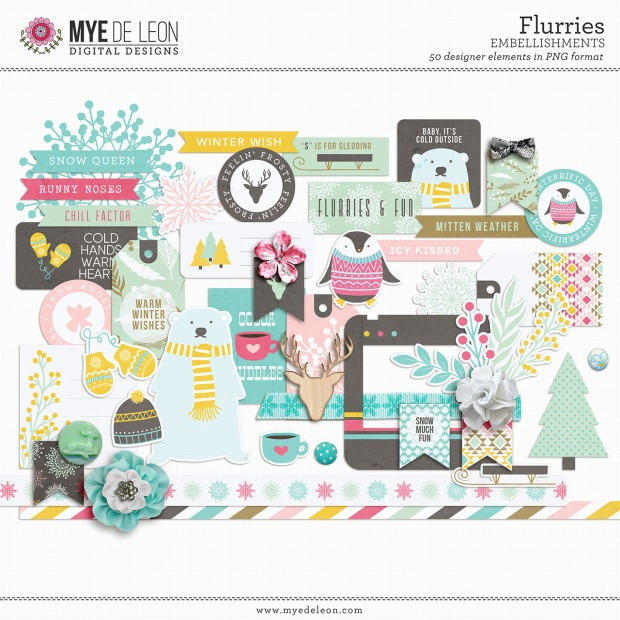 Mye De Leon Flurries Embellishments available at www.snapclicksupply.com #digitalscrapbookingj #winter