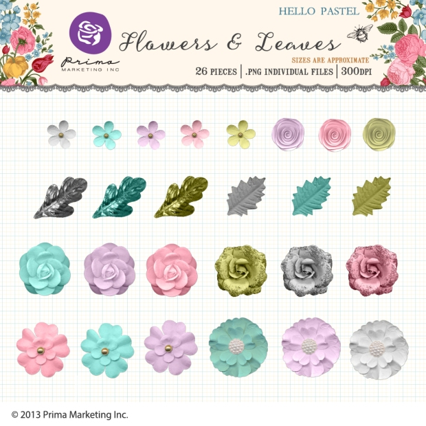 Prima Marketing Hello Pastel Flowers and Leaves available at www.snapclicksupply.com #digitalscrapbooking #spring