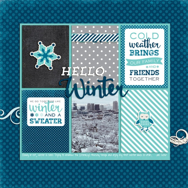 Hello Winter digital scrapbook layout by designer Rachael Sheedy featuring the Hello Winter collection by Echo Park Paper available at www.snapclicksupply.com #digitalscrapbooking #snapclicksupply